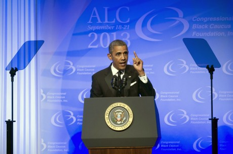 President Barack Obama gestures as he addresses the 43rd annual Congressional Black Caucus Foundation's Legislative Conference dinner in Washington, Saturday. (AP Photo/Cliff Owen)
