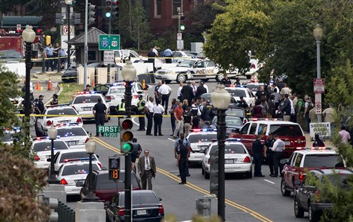 A police officer was reported injured after gunshots at the U.S. Capitol.  (AP Photo/J. Scott Applewhite)