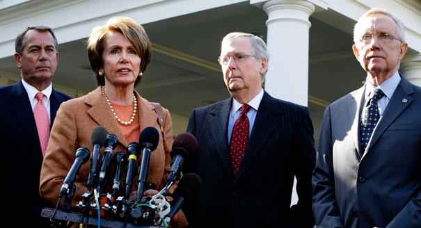 John Boehner, Nancy Pelosi, Mitch McConnell and Harry Reid:  They don't like each other and it shows. (AP)