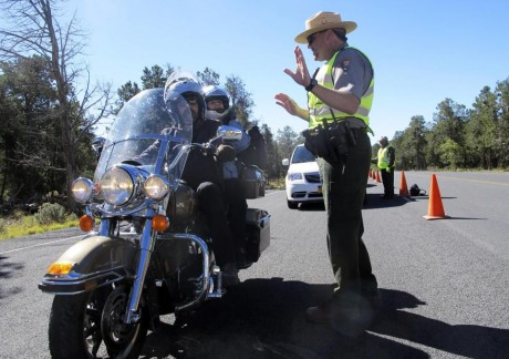 Grand Canyon National Park Ranger Jason Morris explains that park if closed due to the government shutdown. (AP)