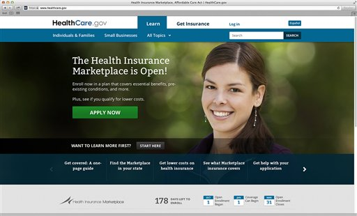 The main landing web page for HealthCare.gov. (AP Photo/HHS)