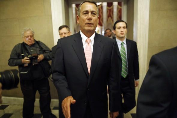 House Speaker John Boehner (R-OH) returns to his office. (REUTERS/Jonathan Ernst)