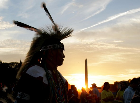 Member of Northern Arapaho Tribe attends festivities in Washingon.  (AP/Susan Walsh)