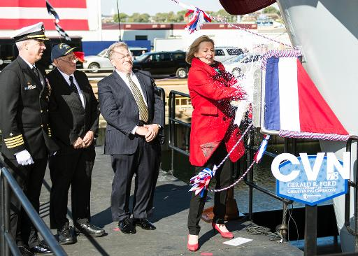 Susan Ford Bales, daughter of late President Gerald Ford, christened Navy's newest aircraft carrier, named after her dad. (US Navy/Joshua J. Wahl)