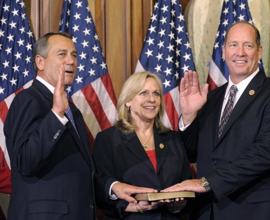 Rep. Ted Yoho (R-Fla) with his wife Carolyn and House Speaker John Boehner. (AP/Cliff Owen)