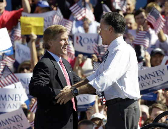 Virginia Gov. Bob McDonnell campaigning with Mitt Romney in better days. (AP/Steve Helber)