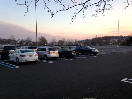 A nearly-empty mall parking lot in Willow Grove, PA (Reuters/Jilian Mincer)
