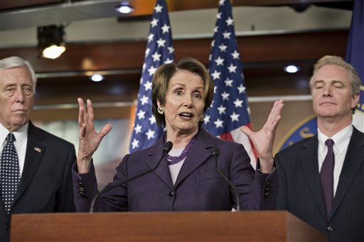 House Minority Leader Nancy Pelosi of Calif., center, House Minority Whip Steny Hoyer of Md., left, and Rep. Chris Van Hollen, D-Md., the ranking member of the House Budget Committee. (AP Photo/J. Scott Applewhite)