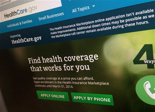 The HealthCare.gov website, photographed in Washington. (AP Photo/Jon Elswick)