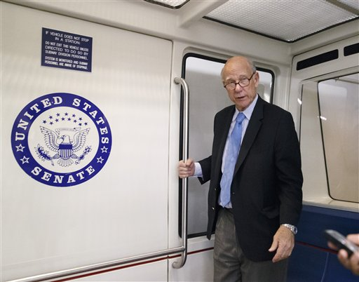 Sen. Pat Roberts, R-Kan., boards a shuttle to return to his Capitol Hill office. (AP Photo/J. Scott Applewhite)