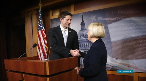 Rep. Paul Ryan and Sen. Patty Murray congratulate each other on a rare budget deal that worked. (AP)