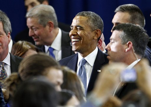 President Barack Obama greets supporters after speaking at McGavock High School on Thursday.  (AP Photo/Wade Payne)