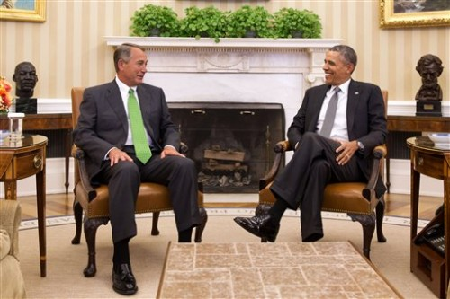 President Barack Obama meets with House Speaker John Boehner of Ohio in the Oval Office of the White House in Washington, Tuesday. (AP Photo/Jacquelyn Martin)