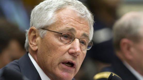 Defense Secretary Chuck Hagel testifies on Capitol Hill in Washington, Tuesday, before the House Armed Services Committee hearing on the proposed authorization to use military force in Syria. (AP Photo/Jacquelyn Martin)