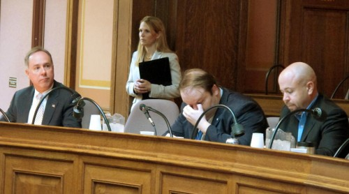 The chair where Wisconsin Assembly Majority Leader Bill Kramer would normally sit is empty. (AP Photo/Scott Bauer)