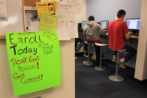 Students at Central New Mexico Community College apply for taxpayer-subsidized health plans under President Barack Obama's health care law during a special enrollment event in Albuquerque, N.M., Monday. (AP Photo/Susan Montoya Bryan)