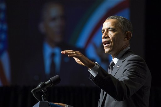 President Barack Obama addresses the National Action Network convention in New York.   (AP Photo/Craig Ruttle, Pool)