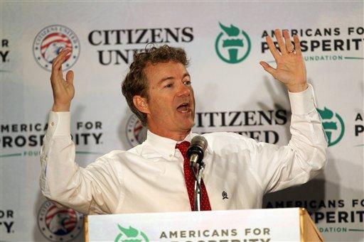 Sen. Rand Paul, R-Ky. speaks at a GOP Freedom Summit, Saturday. (AP Photo/Jim Cole)