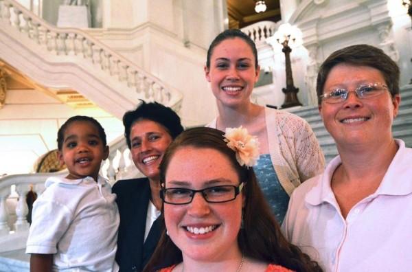 The Whitewoods _ Landon, 2, Susan, 49, Abbey, 16, Katie, 14, and Deb, 45,  are the lead plaintiffs.  (AP Photo/Marc Levy)