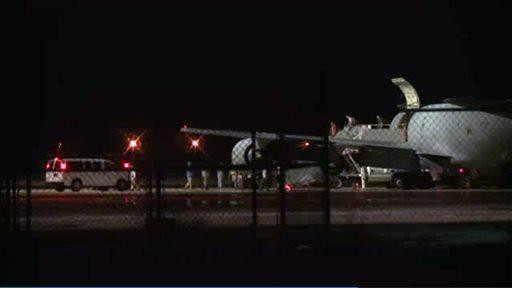 Lackland Air Force Base in San Antonio Texas early Friday morning.  (AP Photo/AP Video)