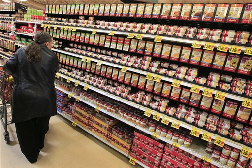 Shopper on the canned soup aisle at a grocery store in Cincinnati.   (AP Photo/Al Behrman, File)