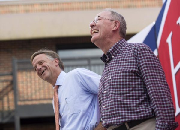 Gov. Bill Haslam, left, and U.S. Sen. Lamar Alexander  (AP Photo/Knoxville News Sentinel, Paul Efird)