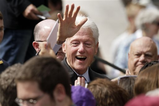 Former President Bill Clinton greets supporters after a political rally at the University of Central Arkansas in Conway (AP Photo/Danny Johnston)