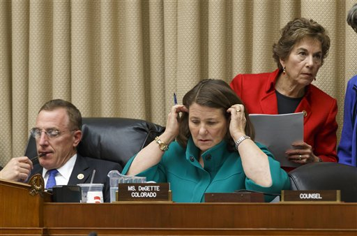 From left, Rep. Tim Murphy, R-Pa., chairman of the House Energy and Commerce Committee's subcommittee on Oversight and Investigations, Rep. Diana DeGette, D-Colo., the ranking member, and Rep. Jan Schakowsky, D-Ill., play the blame game  (AP Photo/J. Scott Applewhite)