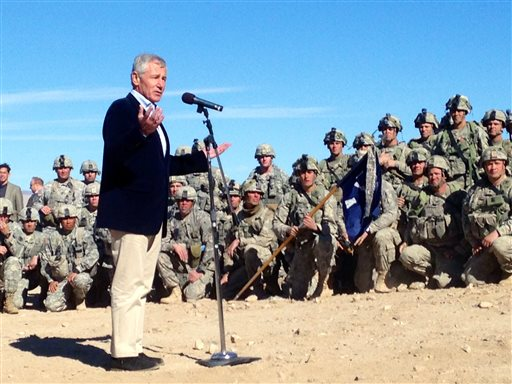U.S. Secretary of Defense Chuck Hagel speaks to members of 3rd Brigade, 4th Infantry Division, at the National Training Center in Fort Irwin, Calif.  (AP Photo/Robert Burns)