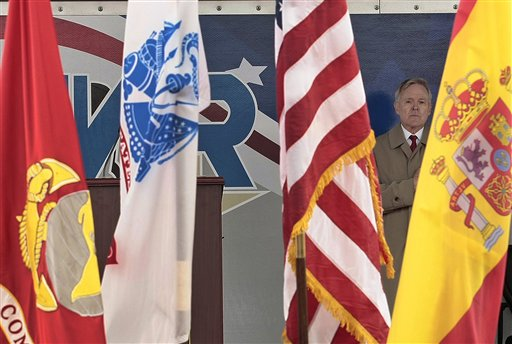 Navy Secretary Ray Mabus, right, attends the ceremony of arrival of the guided-missile destroyer USS Donald Cook at Naval Station  (AP Photo/ Alfonso Perez)