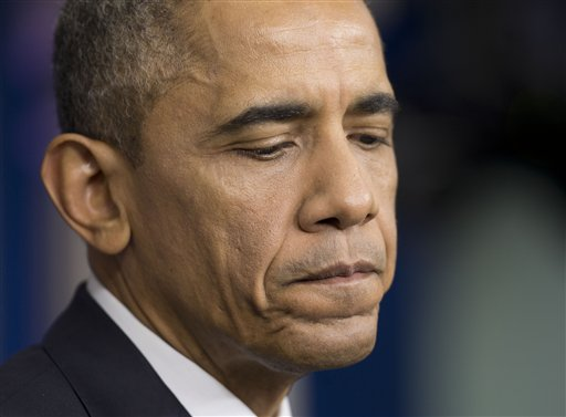 President Barack Obama pauses during a news conference in the Brady Press Briefing Room (AP Photo/Pablo Martinez Monsivais )