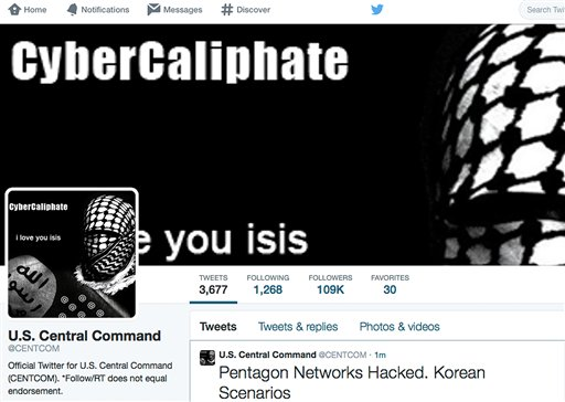 The front page of the U.S. Central Command twitter account after is was hacked (AP Photo)