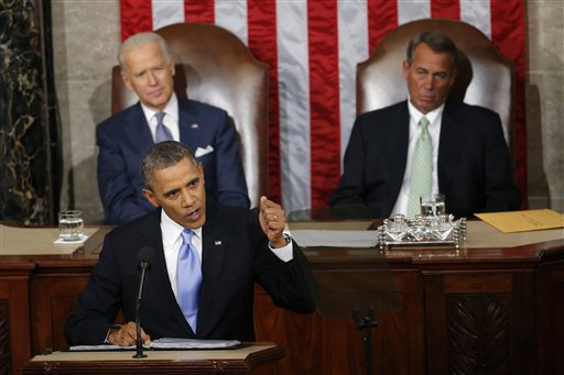 Vice President Joe Biden and House Speaker John Boehner of Ohio listens as President Barack Obama gives his State of the Union address last year.  (AP Photo/Charles Dharapak)