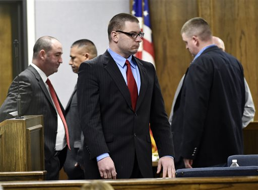 Former Marine Cpl. Eddie Ray Routh stands during his capital murder trial at the Erath County.  (AP Photo/The Dallas Morning News, Michael Ainsworth, Pool)