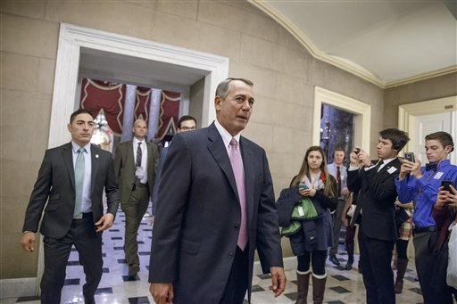 House Speaker John Boehner of Ohio returns to his office on Capitol Hill in Washington.  (AP Photo/J. Scott Applewhite)