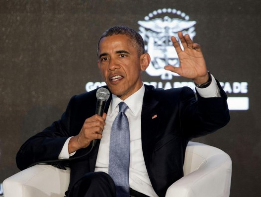 President Barack Obama speaks during the CEO Summit of the Americas panel discussion in Panama City.  (AP Photo/Pablo Martinez Monsivais)