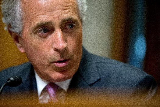 FILE - In this April 14, 2015 file photo, Senate Foreign Relations Committee Chairman Sen. Bob Corker, R-Tenn. (AP Photo/Andrew Harnik)