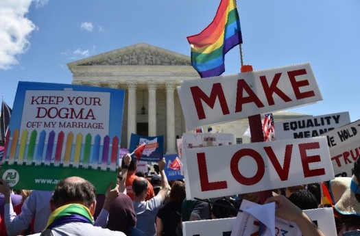 Supporters of same-sex marriages cheer outside the US Supreme Court.  (AFP Photo/Mladen Antonov)