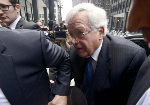 Former House Speaker Dennis Hastert arrives at the federal courthouse in Chicago for his arraignment on federal charges that he broke federal banking laws and lied about the money when questioned by the FBI.  (AP Photo/Paul Beaty)