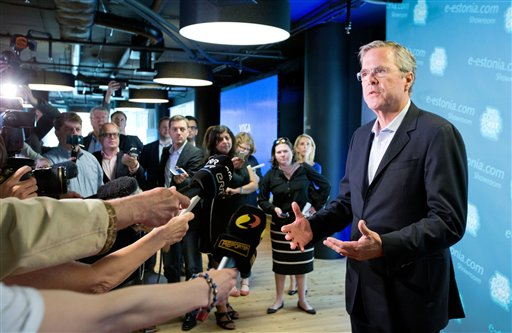 Former US Governor of Florida Jeb Bush speaks to journalists during his visit in Tallinn, Estonia, Saturday. (AP Photo/Liis Treimann)