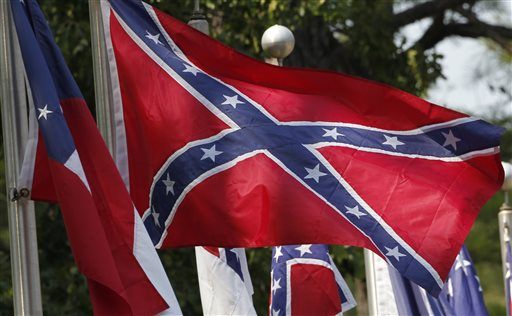 Confederate battle flags fly outside the museum at the Confederate Memorial Park in Mountain Creek, Ala.  (AP Photo/Dave Martin)