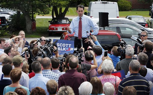 Republican presidential candidate, Wisconsin Gov. Scott Walker.  (AP Photo/Jim Cole)