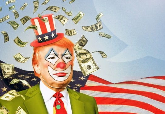 Donald Trump: A clown with money and a following.
