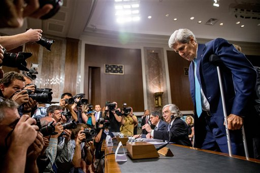 Secretary of State John Kerry, right, Secretary of Energy Ernest Moniz, second from right, and Secretary of Treasury Jack Lew, third from right, arrive to testify at a Senate Foreign Relations Committee hearing on Capitol Hill, in Washington, Thursday, July 23, 2015, to review the Iran nuclear agreement. (AP Photo/Andrew Harnik)