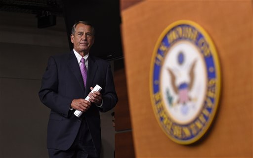 House Speaker John Boehner of Ohio arrives for a news conference on Capitol Hill in Washington, Wednesday, July 29, 2015. An effort by a conservative Republican to strip Boehner of his position as the top House leader is largely symbolic, but is a sign of discontent among the more conservative wing of the House GOP. On Tuesday, Rep. Mark Meadows of North Carolina, who was disciplined earlier this year by House leadership, filed a resolution to vacate the chair, an initial procedural step.(AP Photo/Susan Walsh)