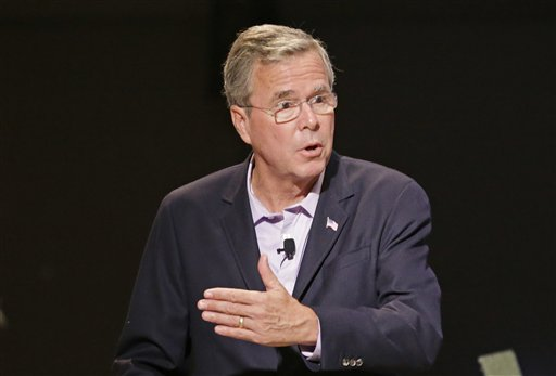 """FILE - In this July 27, 2015 file photo, Republican presidential candidate, former Florida Gov. Jeb Bush speaks in Orlando, Fla. The largest Florida corporate donor to a """"super"""" political committee backing former Gov. Jeb Bush's presidential run is NextEra Energy, the company that owns electric utility giant Florida Power & Light.  (AP Photo/John Raoux, File)"""
