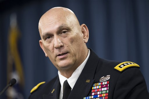 Outgoing Army Chief of Staff Gen. Ray Odierno speaks during his final news briefing, Wednesday, Aug. 12, 2015, at the Pentagon. (AP Photo/Evan Vucci)