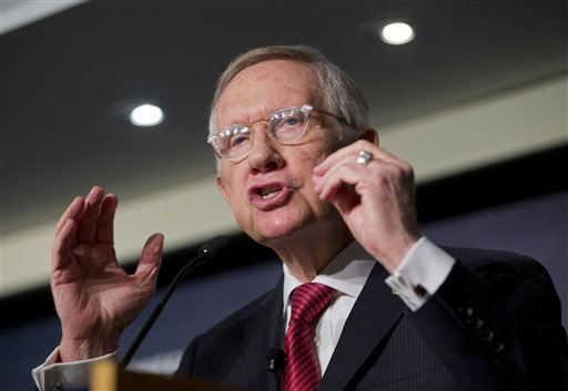 Senate Minority Leader Harry Reid, D-Nev., discusses the Iran nuclear agreement during his speech at the Carnegie Endowment for International Peace in Washington, Tuesday, Sept. 8, 2015. Lawmakers returning to Washington from their summer recess are plunging immediately into bitter, partisan debate over the Iran nuclear accord. The deal struck by Iran, the U.S. and five world powers in July is aimed at curbing Iran's nuclear program in exchange for hundreds of billions of dollars in relief for economic sanctions. (AP Photo/Pablo Martinez Monsivais)