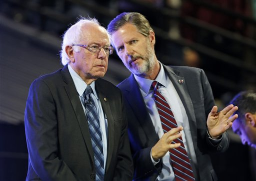 Democratic presidential candidate, Sen. Bernie Sanders, I-Vt. , left, talks with Liberty University President Jerry Falwell Jr., at Liberty University  in Lynchburg, Va., Monday, Sept. 14, 2015. (AP Photo/Steve Helber)