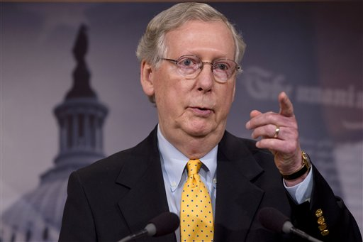 In this photo taken Aug. 6, 2015, Senate Majority Leader Mitch McConnell of Ky speaks during a news conference on Capitol Hill in Washington. Senate Republicans on Tuesday pushed for a final say on the Iran nuclear deal before the congressional review period expires, but Democrats were poised to stop any attempt to undercut the international accord and President Barack Obama's win on a top foreign policy initiative.  (AP Photo/Jacquelyn Martin)